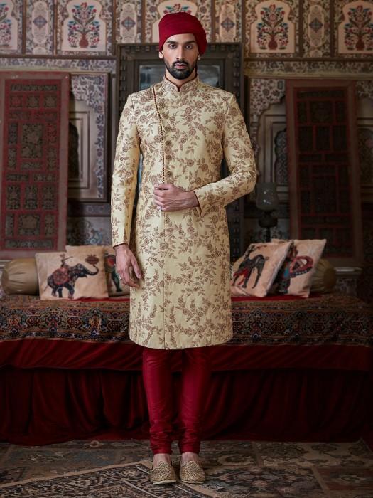 Groom Wear Raw Silk Beige Designer Sherwani Suit