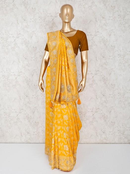 Haldi Function Silk Yellow Saree