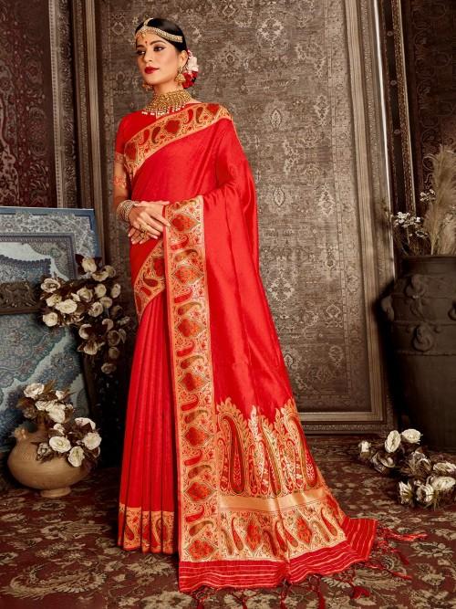 Handloom Banarasi Silk Saree In Red For Wedding
