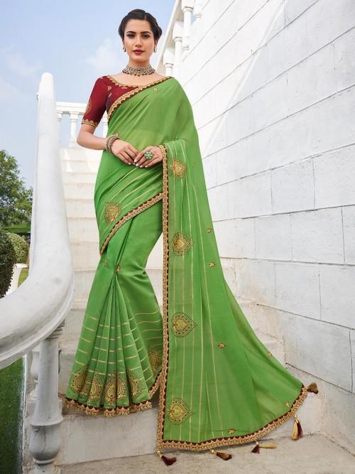 Handloom Cotton Saree In Parrot Green Color