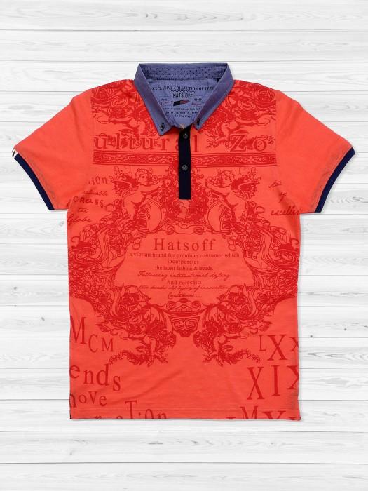 Hats Off Orange Printed T-shirt