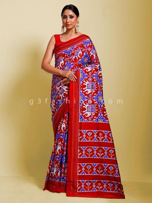 Hydrabadi Ikkat Red And Blue Patola Saree