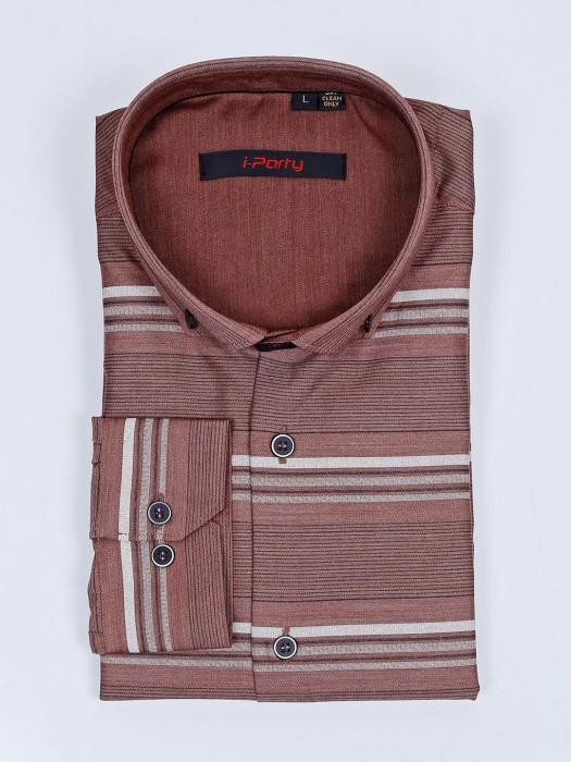 I Party Stripe Pattern Brown Shirt