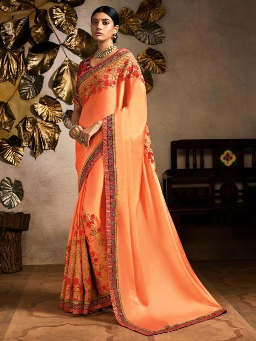 Indian Peach Satin Silk Saree