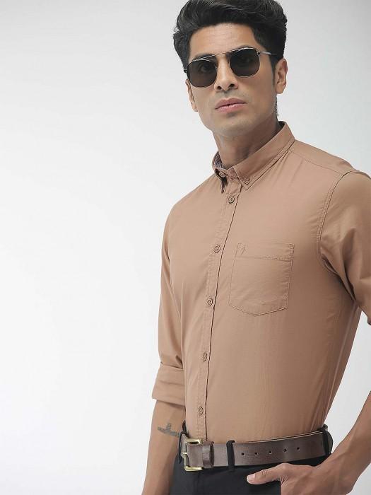 Indian Terrain Beige Color Solid Cotton Shirt