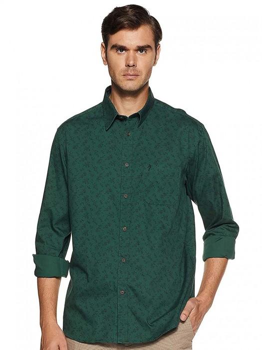 Indian Terrain Green Printed Cotton Shirt