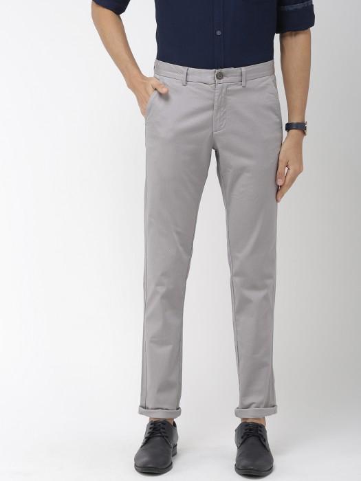 Indian Terrain Grey Printed Casual Trouser