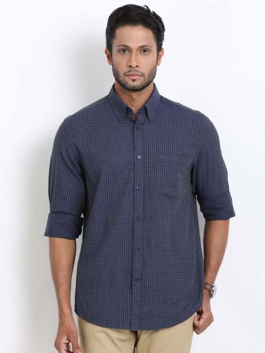 Indian Terrain Printed Slim Fit Navy Shirt