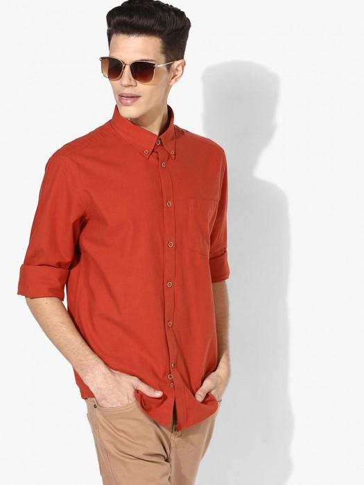 Indian Terrain Rust Orange Cotton Shirt