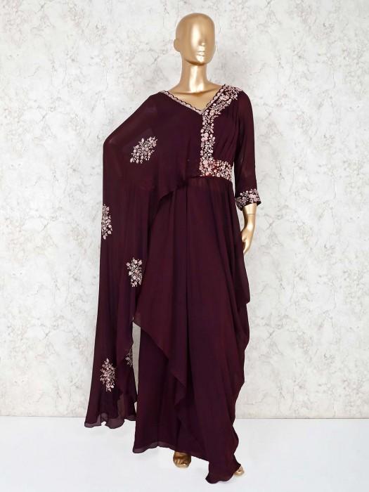 Indo Western Designer Maroon Palazzo Suit