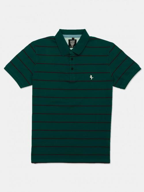 Instinto Bottle Green Stripe Cotton T-shirt