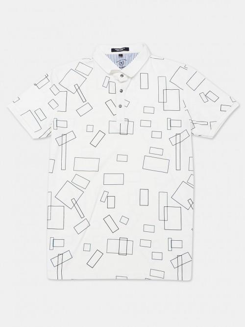 Instinto White Half Sleeves Printed T-shirt