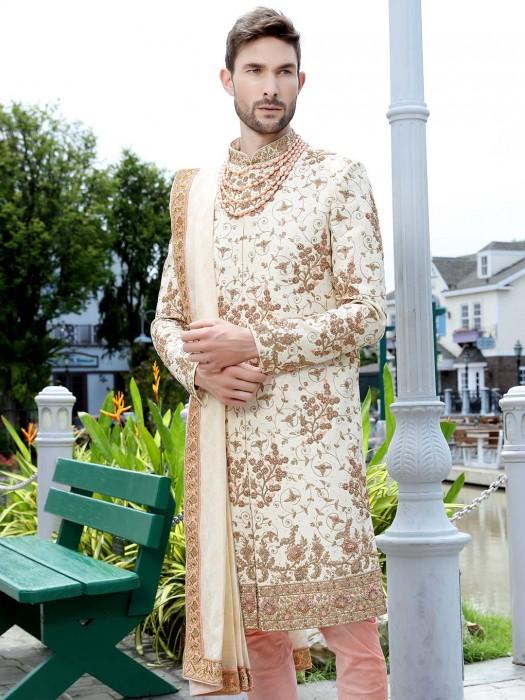 Jamawar Cream Hue Groom Wear Sherwani
