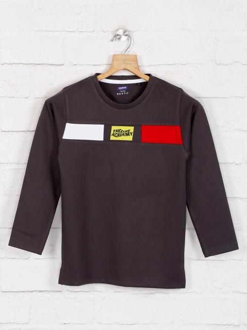 Jappkids Black Printed Full Sleeve Cotton T-shirt
