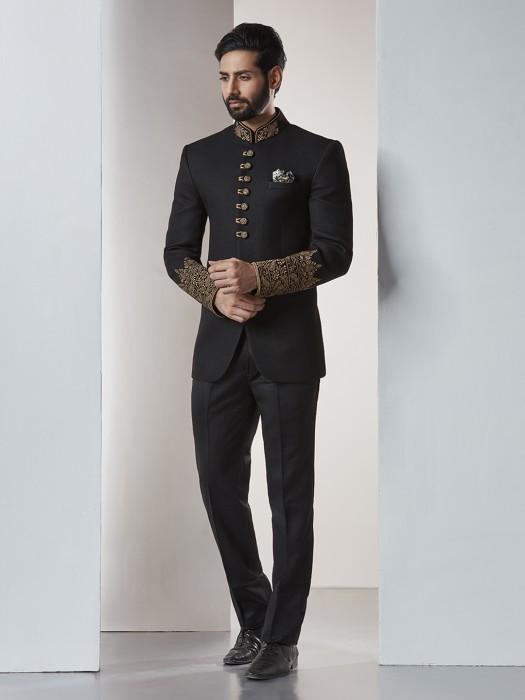 Jet Black Bandhgala Jodhpuri Suit