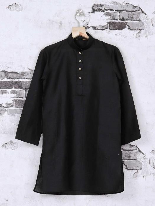 Jet Black Festive Kurta Suit For Boys