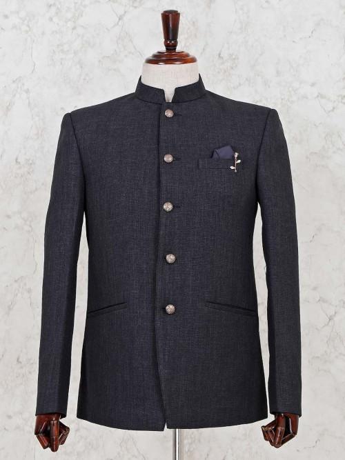 Jodhpuri Dark Grey Blazer For Mens