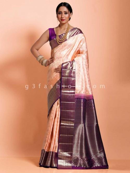 Kanjivaram Silk Wedding Or Reception Sari In Peach