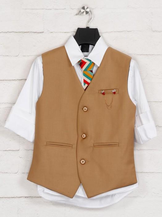 Khaki And White Terry Rayon Waistcoat Shirt