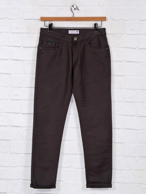 Kozzak Charcoal Grey Solid Denim Jeans