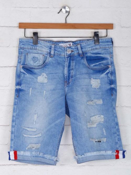 Kozzal Light Blue Ripped Shorts Gor Mens