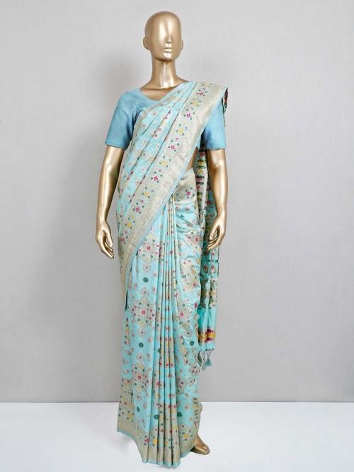 Latest Aqua Green Wedding Semi Banarasi Silk Saree