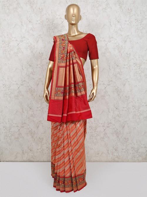 Latest Banarasi Silk Peach Wedding Saree