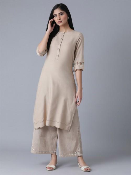W Latest Beige Casual Wear Cotton Kurti