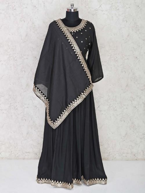Latest Black Anarkali Dress In Cotton For Wedding Function