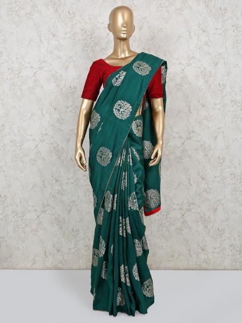 Latest Bottle Green Dola Silk With Nice Pallu