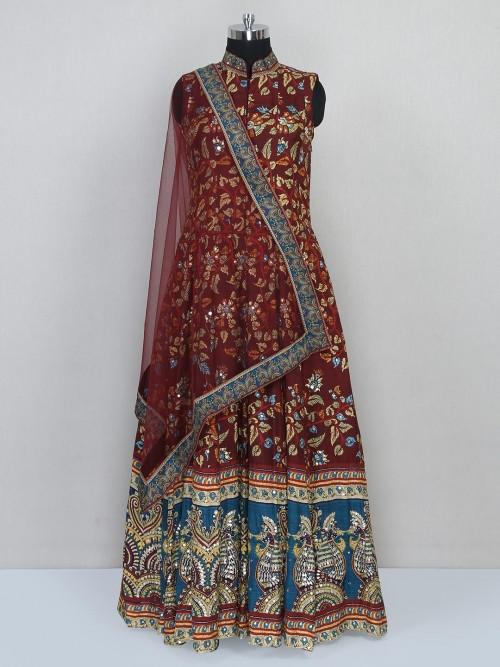 Latest Brown Cotton Festive Wear Anarkali