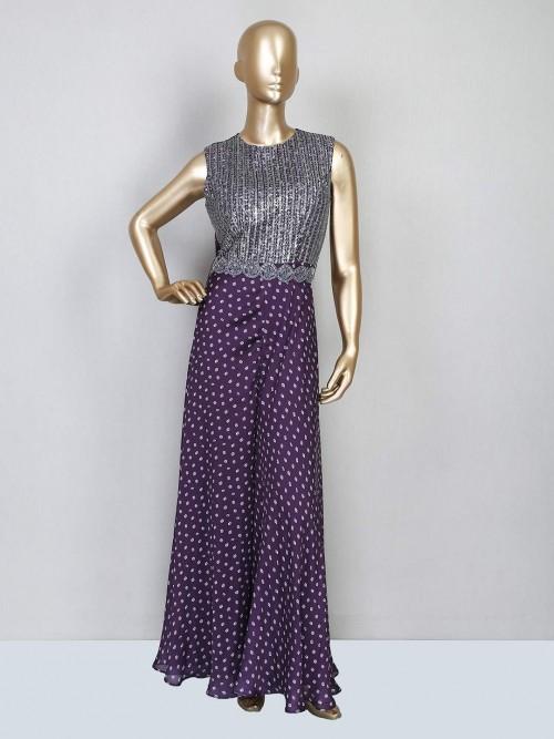 Latest Designer Purple Satin Jumpsuit For Festive Wear