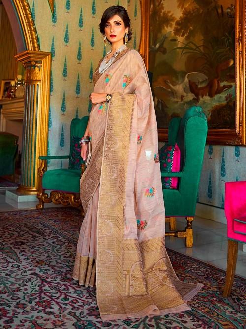 Latest Festive Wear Beige Colour Saree
