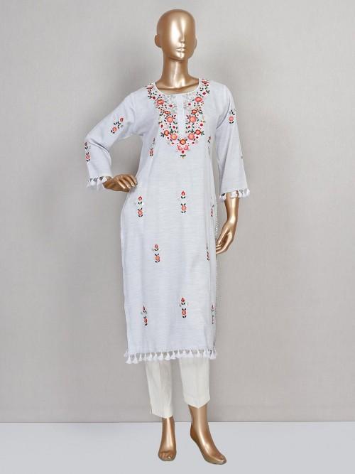 Latest Grey Cotton Pant Style Salwar Suit