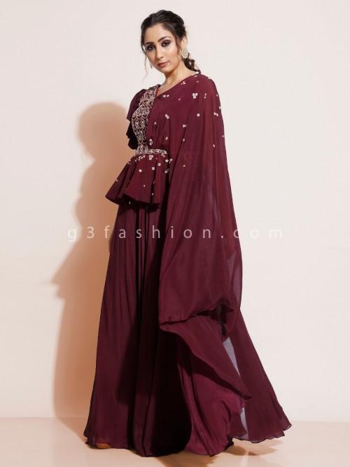 Latest Maroon Indo-western Dress For Wedding In Georgette