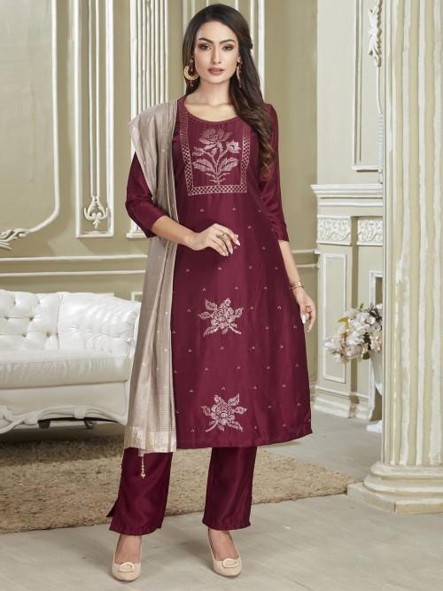 Latest Maroon Punjabi Cotton Salwar Suit For Festivals
