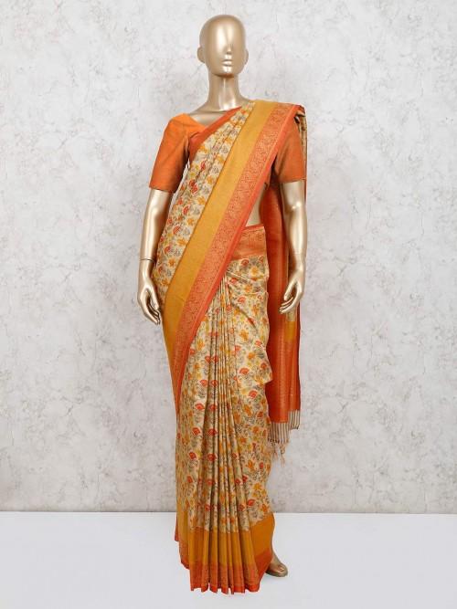 Latest Mustard Printed Banarasi Silk Saree