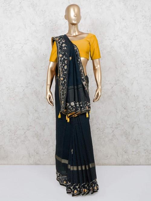 Latest Navy Organza Tissue Silk Saree For Reception