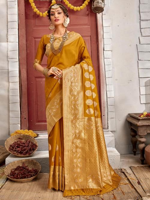 Latest Olive Handloom Banrasi Silk Saree For Festive