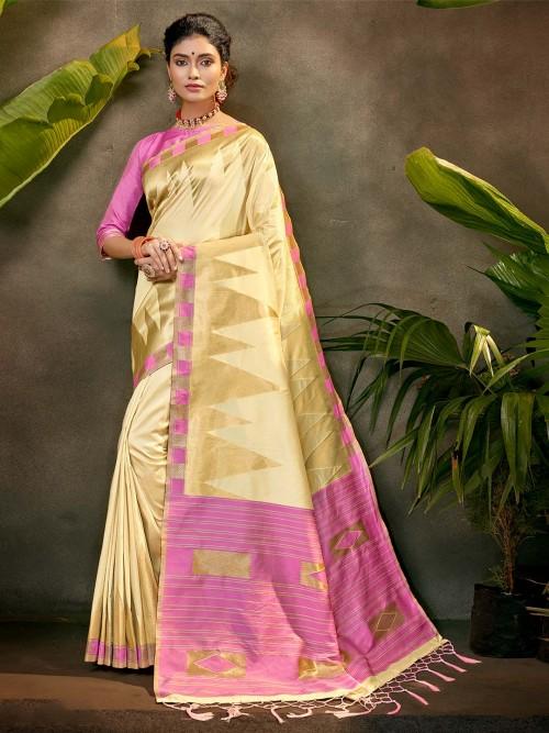 Latest Party Wear Saree In Beige Silk