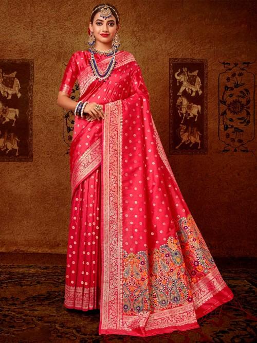 Latest Pink Banarasi Silk Saree For Wedding