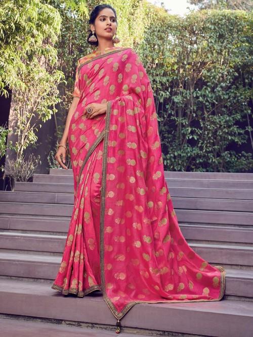 Latest Pink Cotton Silk Saree With Zari Work