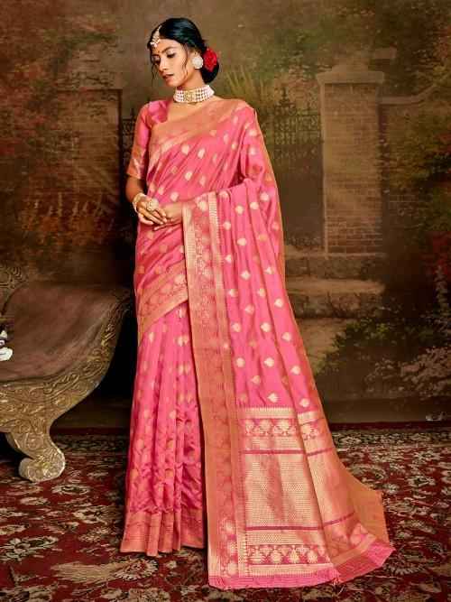 Latest Pink Handloom Banarasi Silk Saree For Wedding