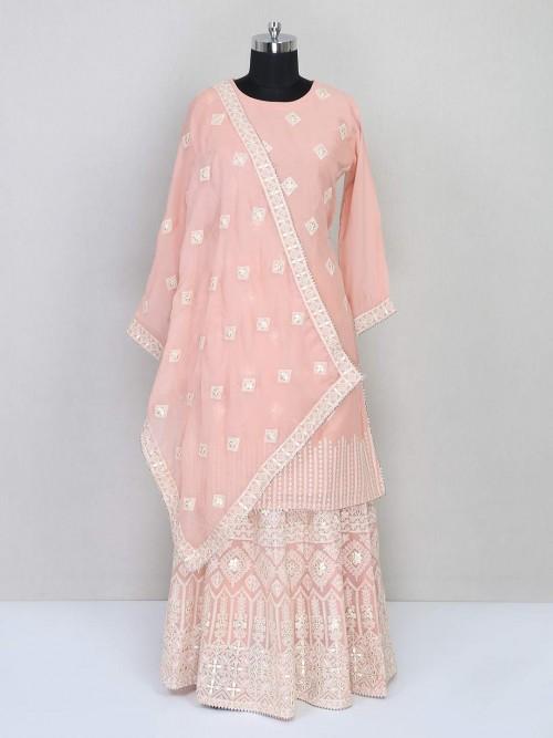 Latest Pink Lehenga Style Cotton Wedding Salwar Kameez