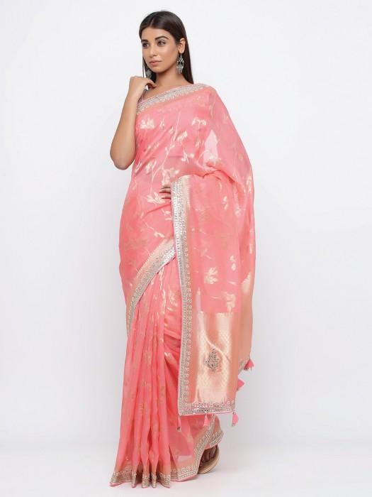 Latest Pink Saree For Wedding In Organza Tissue Silk
