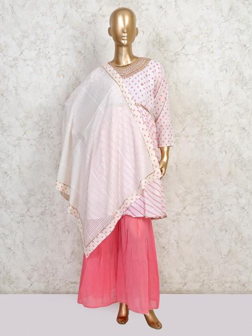 Latest Pink Sharara Cotton Salwar Kameez For Festive