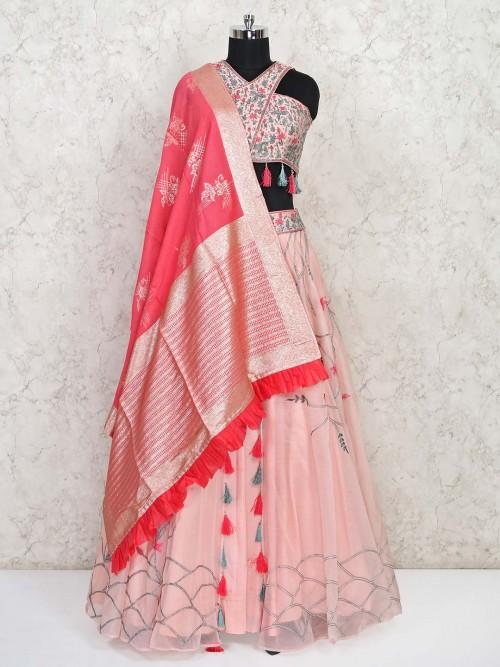 Latest Pink Tissue Silk Wedding Lehenga Choli