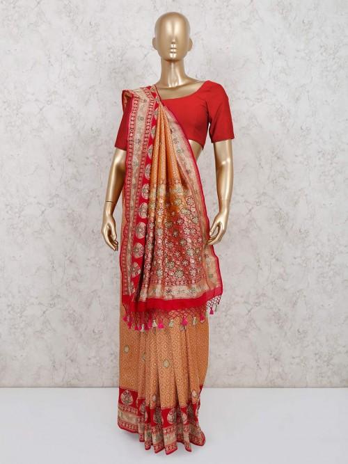 Latest Pure Banarasi Silk Beige Designer Saree