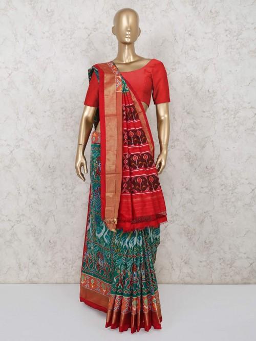 Latest Rama Green Hydrabadi Patola Silk Saree For Wedding