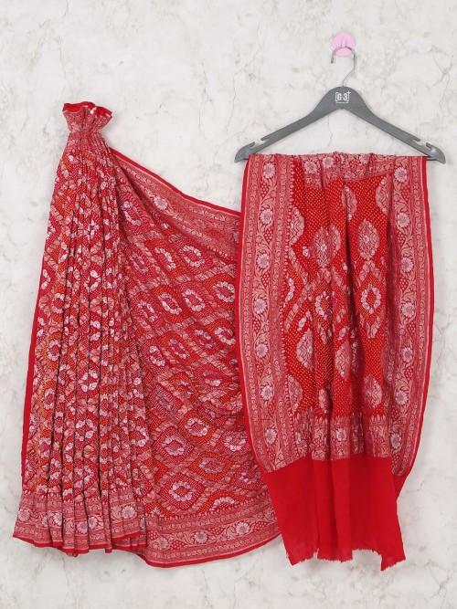 Latest Red Designer Bandhej Bridal Wear Saree